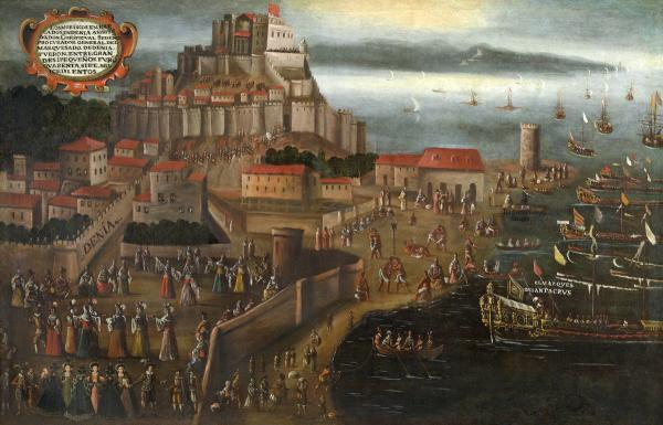 Foto: Morisker forlater havnen i Dénia etter å ha blitt utvist fra Kongedømmet Valencia (Maleri av Vicente Mostre fra 1613).