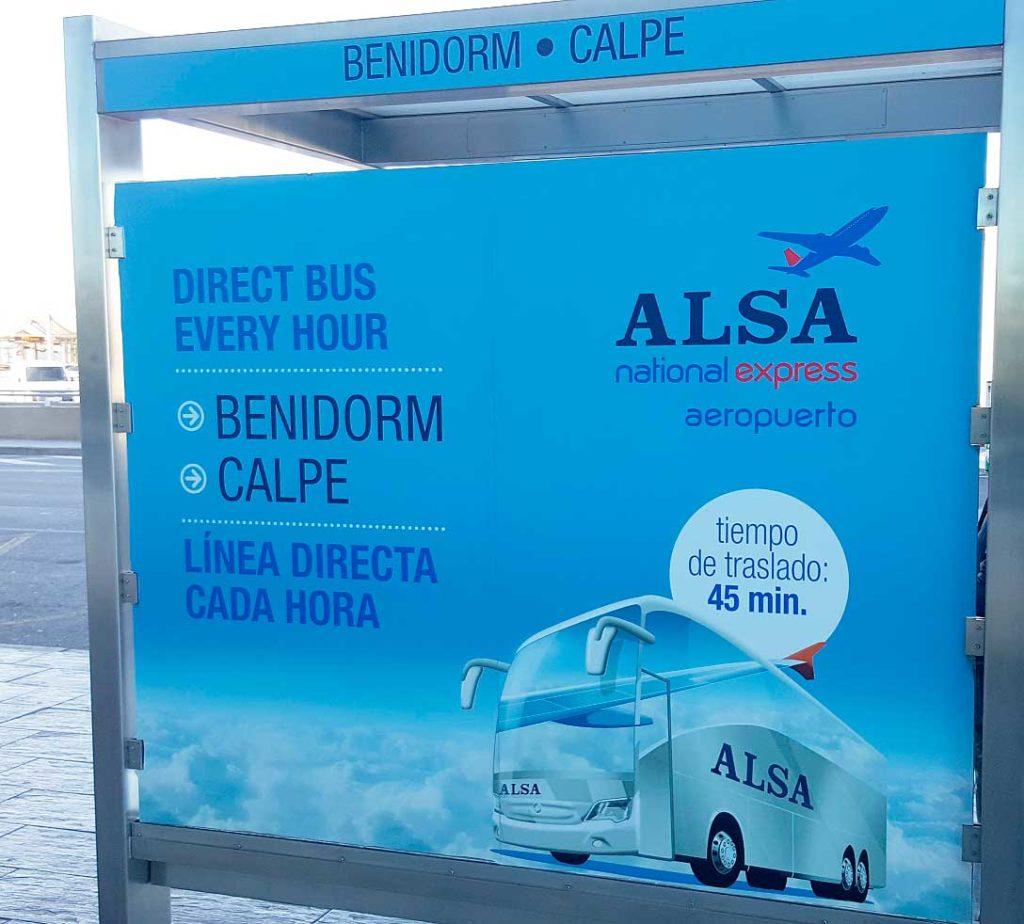 Alicante flyplass til Benidorm busstider