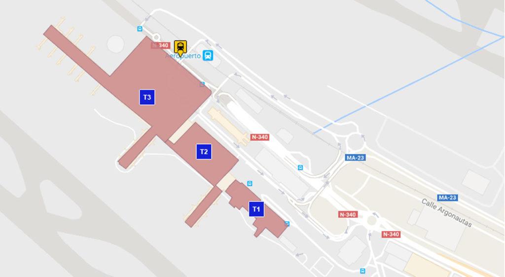 Malaga Flyplass Kart
