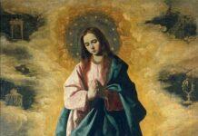 Foto: Læren om Den ubesmittede unnfangelse i katolisismen ligger til grunn for en egen type malerier og statuer der Maria er avbildet uten Jesusbarnet, gjerne med glorie, himmelen som bakteppe og omringet av engler (Francisco de Zurbarán, Museo del Prado, Madrid).