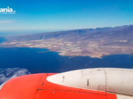 Utsikt til Gran Canaria fra Norwegian flight