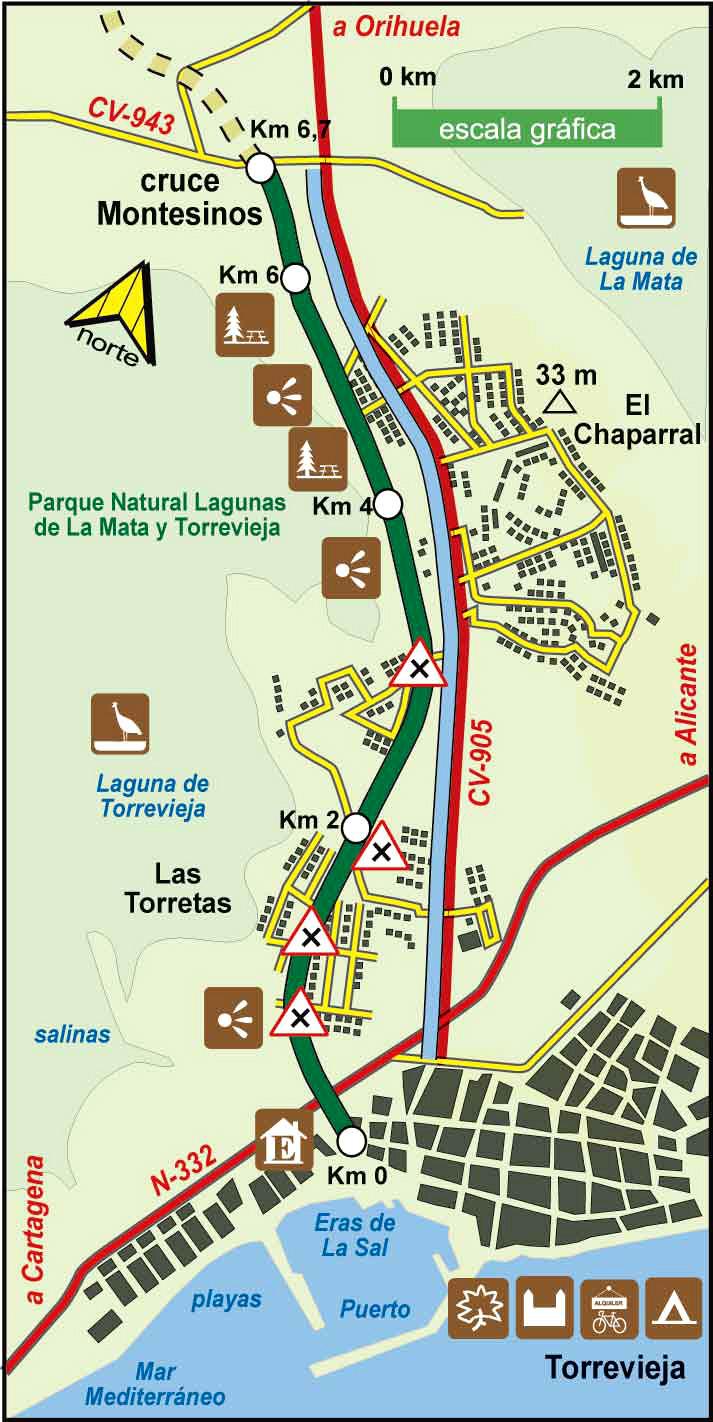 Grønn korridor fra Torrevieja til San Isidoro via Rojales