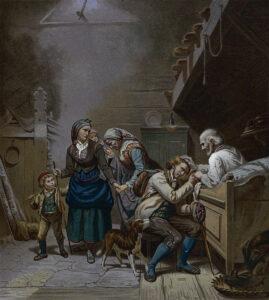 «Afskeden» av Adolph Tidemand viser en ung nordmann som tar en siste farvel. Bildet ble utgitt i Norske Folkelivsbilleder 1858.