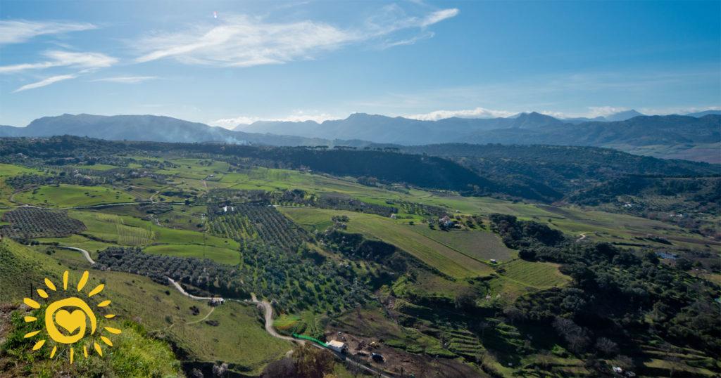 Fra Ronda ser man utover det inspirerende landskapet og Serranía de Ronda.