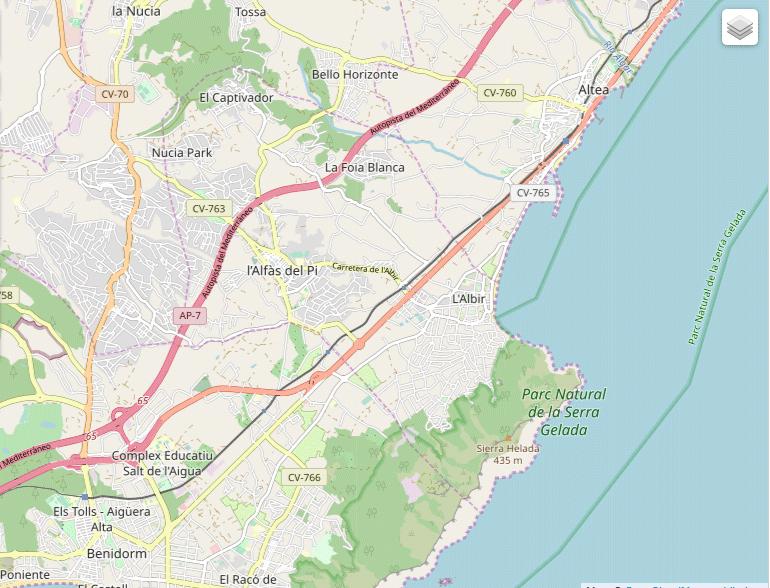 Kart over Albir, Altea og Alfaz del Pi
