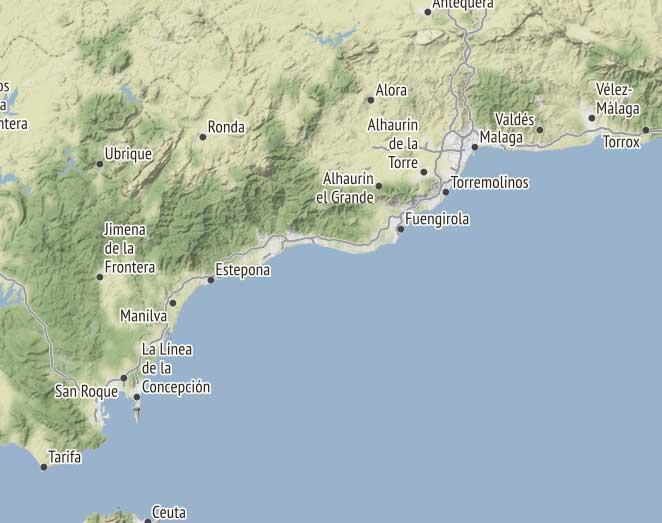 Kart over Malaga og Costa del Sol